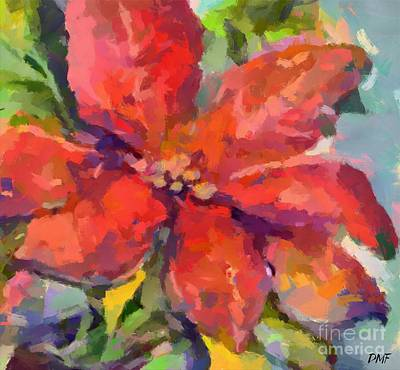 Christmas Painting - Poinsettia by Dragica Micki Fortuna
