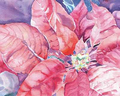 Art Print featuring the painting Poinsettia Glory by Mary Haley-Rocks