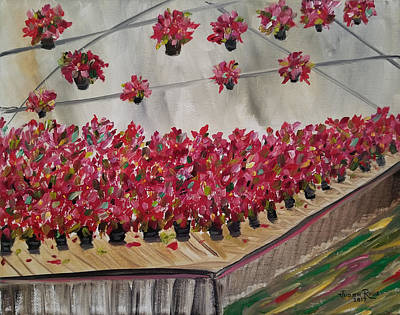 Painting - Poinsettia Greenhouse by Judith Rhue