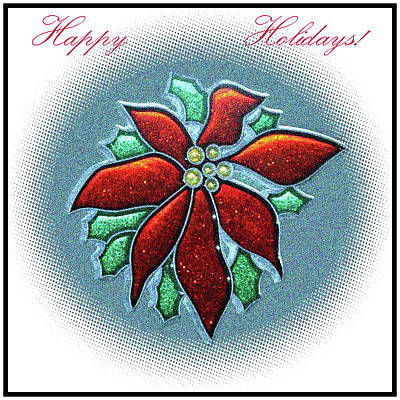 Digital Art - Poinsettia Holiday by Ellen Barron O'Reilly