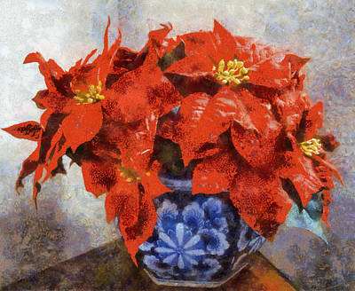 Painting - Poinsettia In Blue Bowl by Joseph Frank Baraba