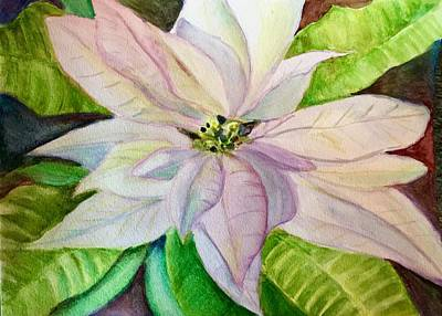Painting - Poinsettia In White by FayBecca Designs