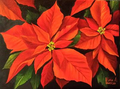 Painting - Poinsettia  by Katia Aho