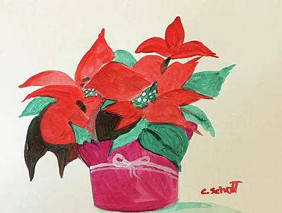 Painting - Poinsettia On Paper by Christina Schott