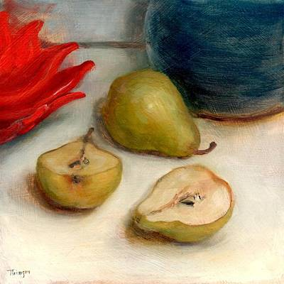 Painting - Poinsettia Plate And Pears by Thimgan Hayden