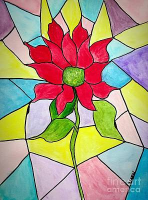 Painting - Poinsettia Stained Glass by Anne Sands