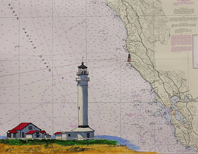 Painting - Point Arena Lighthouse On A Noaa Nautical Chart by Mike Robles