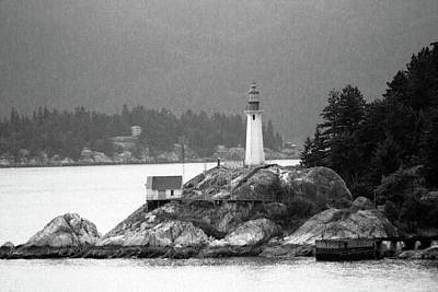 Photograph - Point Atkinson Lighthouse 01 Bw - West Vancouver, British Columbia by Pamela Critchlow