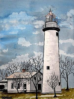 Lighthouses Painting - Point Aux Barques Lighthouse by Derek Mccrea