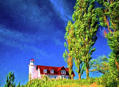 Digital Art - Point Betsie Light House by Dennis Cox Photo Explorer