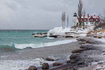 Photograph - Winter At Point Betsie Lighthouse by Fran Riley
