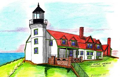 Drawing - Point Betsie Lighthouse by Paul Meinerth