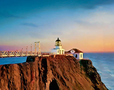 Bonita Point Painting - Point Bonita Lighthouse by Douglas MooreZart