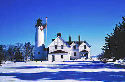 Photograph - Point Iroquois Lighthouse By Lake Superior 1980s by Library Of Congress