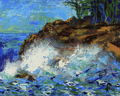 Painting - Point Lobos Crashing Waves by Walter Fahmy