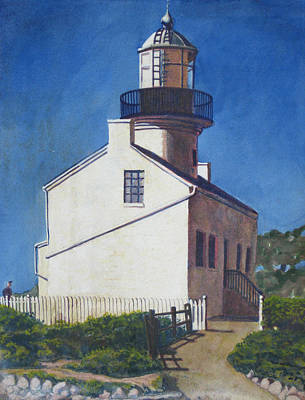 Egg Tempera Painting - Point Loma Lighthouse by D T LaVercombe