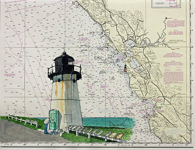 Painting - Point Montara Lighthouse On A Noaa Nautical Chart by Mike Robles