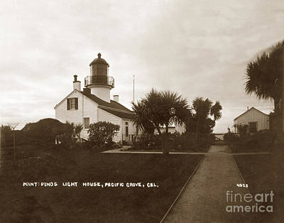 Photograph - Point Pinos Light House, Pacific Grove, Cal. Circa 1911 by California Views Mr Pat Hathaway Archives