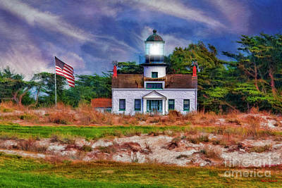 Photograph - Point Pinos Lighthouse And Flag by Blake Richards