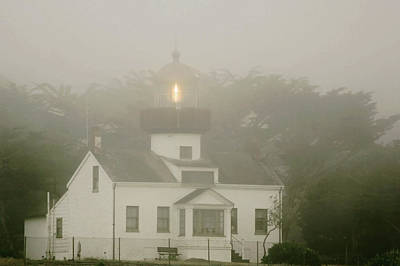 Point Pinos Lighthouse In A Foggy Night - Pacific Grove Monterey Central Ca Art Print by Christine Till