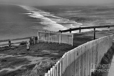 Photograph - Point Reyes Fence Black And White by Adam Jewell