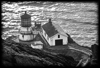 Photograph - Point Reyes Lighthouse Bw by Bonnie Follett
