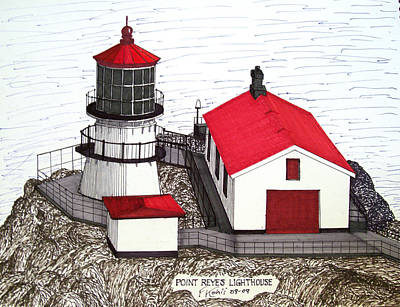 Drawing - Point Reyes Lighthouse by Frederic Kohli