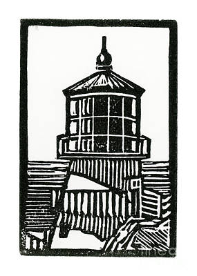 Lino Mixed Media - Point Reyes Lighthouse by Tom Taneyhill