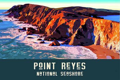 Digital Art - Point Reyes National Seashore 2 by Chuck Mountain