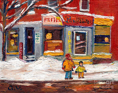 Paul Patates. French Fries Painting - Point St Charles Winter Scene Paul Patates Diner Montreal Winter Scene Painting Grace Venditti by Grace Venditti