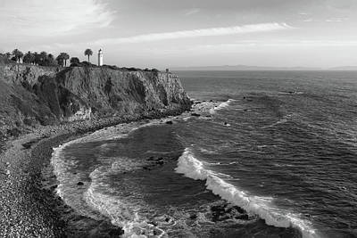 Photograph - Point Vicente Lighthouse Palos Verdes California - Black And White by Ram Vasudev