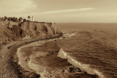 Photograph - Point Vicente Lighthouse Palos Verdes California - Sepia Rendition by Ram Vasudev