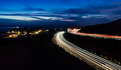Point Vincente Light Trails Art Print by Ed Clark