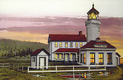 Port Town Mixed Media - Point Wilson Light After Rain by James Lyman
