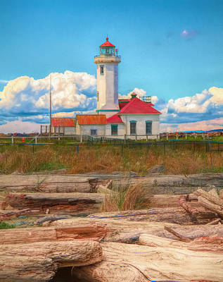 Painting - Point Wilson Lighthouse And Driftwood by Dan Sproul
