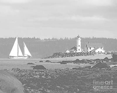 Photograph - Point Wilson Lighthouse And Sailboat by Barbara Henry