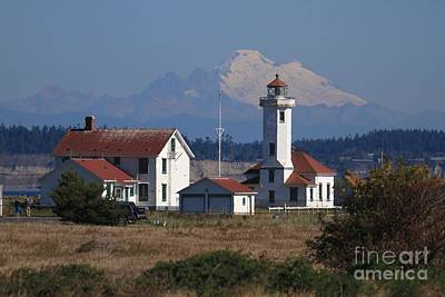 Photograph - Point Wilson Lighthouse At Fort Wordentwith Mount Baker In Background Washington 2015 by California Views Mr Pat Hathaway Archives
