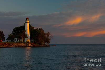 Thomas Kinkade Royalty Free Images - Pointe Aux Barques Lighthouse at Sunrise Royalty-Free Image by Larry Knupp