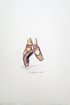 Shoe Painting - Pointe On Friday by Venie Tee