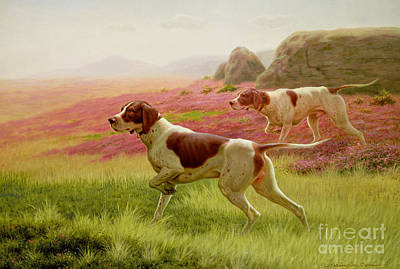 Pointers In A Landscape Art Print by Harrington Bird