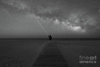 Pointing To The Stars Bw Art Print