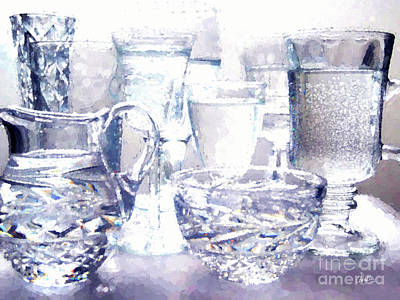 Glassware Digital Art - Points Of Light And Color by Cheryl Rose