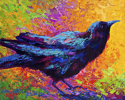 Crow Painting - Poised - Crow by Marion Rose