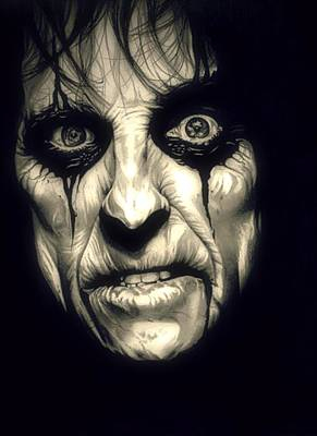 Boa Constrictor Drawing - Poison Alice Cooper by Fred Larucci