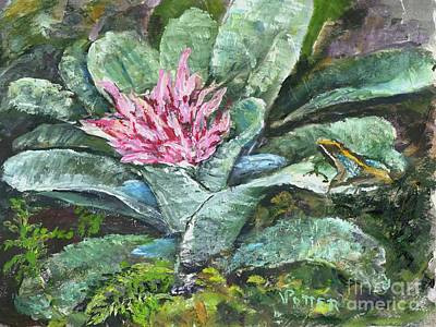 Painting - Poison Dart Frog On Bromeliad by Virginia Potter