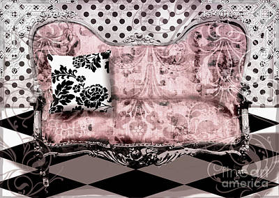 Checkerboard Floor Painting - Poitrine Rose by Mindy Sommers