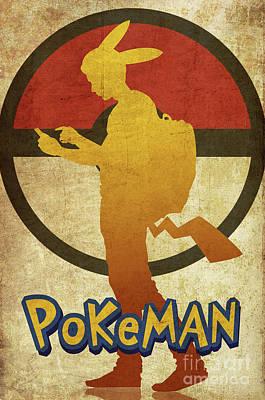 Sold Recent Digital Art - Pokeman Poster by Irina Effa