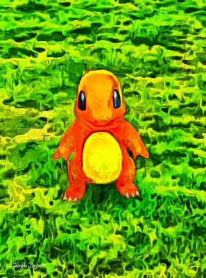 Yellow Beak Painting - Pokemon Go Charmander - Pa by Leonardo Digenio