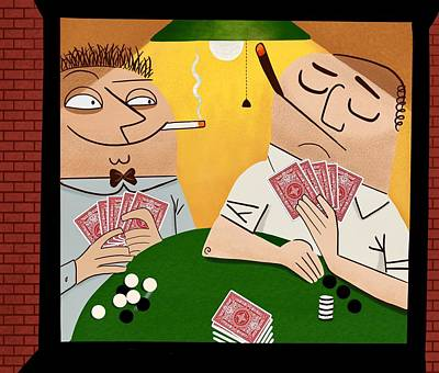 Animation Mixed Media - Poker Faces by Little Bunny Sunshine