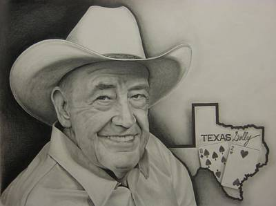 Texas Drawing - Poker Legend by Brian Schuster
